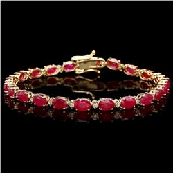 `14k Gold 11.50ct Ruby 0.40ct Diamond Bracelet