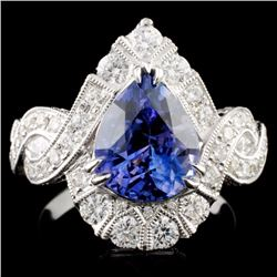18K Gold 3.56ct Sapphire & 1.38ct Diamond Ring