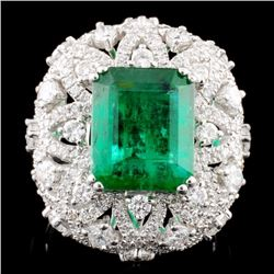 18K Gold 3.94ct Emerald & 1.61ctw Diamond Ring