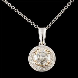 14K TT Gold 0.65ctw Diamond Pendant