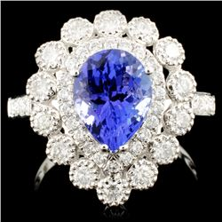 18K Gold 1.95ct Tanzanite & 0.87ctw Diamond Ring
