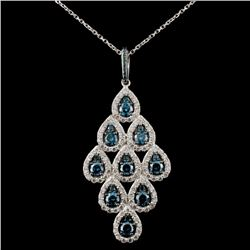 14K White Gold 2.36ctw Fancy Color Diamond Pendant