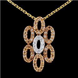 14K TT Gold 0.51ctw Fancy Diamond Pendant