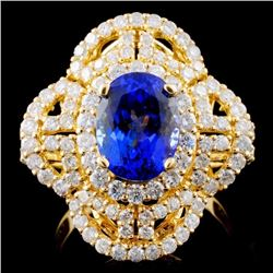 18K Y Gold 2.69ct Tanzanite & 1.72ct Diamond Ring