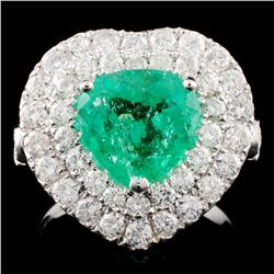 18K Gold 2.23ct Emerald & 1.79ctw Diamond Ring