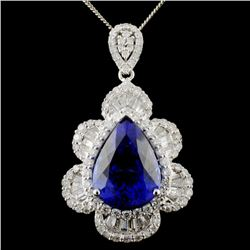 18K White Gold 12.07ct Tanzanite & 2.56ctw Diamond