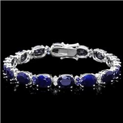 `14k Gold 35.8ct Sapphire 0.75ct Diamond Bracelet