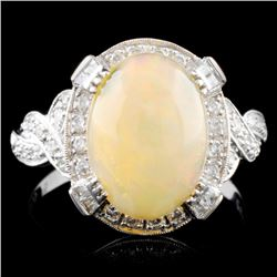 18K Gold 2.14ct Opal & 0.48ctw Diamond Ring