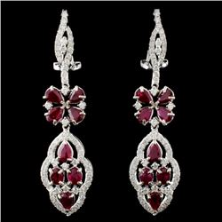 18K White Gold 4.15ct Ruby & 1.27ct Diamond Earrin