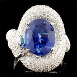 18K Gold 7.91ct Kyanite & 2.15ctw Diamond Ring
