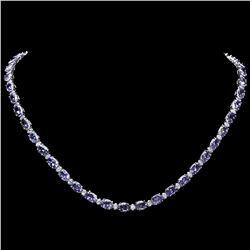 `14k Gold 35ct Tanzanite 1.75ct Diamond Necklace