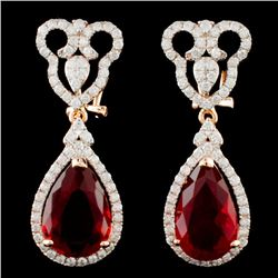 14K Gold 6.06ct Opal & 1.30ctw Diamond Earrings