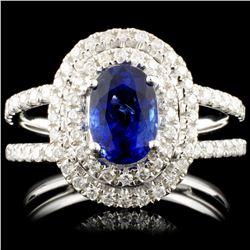 18K Gold 1.22ct Sapphire & 0.58ctw Diamond Ring