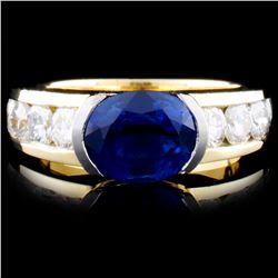 14K Gold 2.65ct Sapphire & 1.35ct Diamond Ring