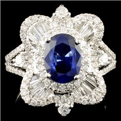 18K Gold 1.68ct Sapphire & 1.09ctw Diamond Ring