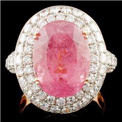18K Gold 7.88ct Tourmaline & 2.16ctw Diamond Ring