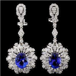 18K Gold 4.72ctw Tanzanite & 3.17ctw Diamond Earri