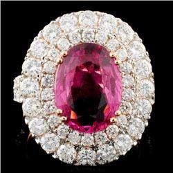 18K Gold 4.45ct Sapphire & 2.67ctw Diamond Ring