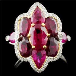 18k Gold 4.50ct Ruby & 0.18ct Diamond Ring