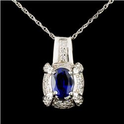 14K Gold 2.31ct Sapphire & 0.63ctw Diamond Pendant
