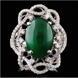 18K Gold 4.72ct Opal & 0.96ct Diamond Ring