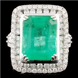 18K Gold 6.06ct Emerald & 1.35ctw Diamond Ring