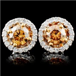 14K Gold 1.29ctw Fancy Diamond Earrings