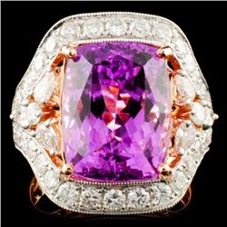 14K Gold 8.35ct Kunzite & 1.87ctw Diamond Ring