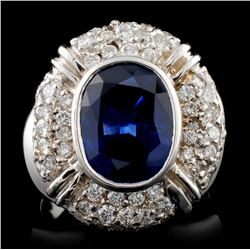 14K White Gold 4.38ct Sapphire & 1.56ct Diamond Ri