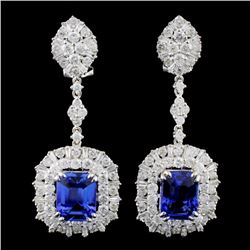 18K Gold 6.13ctw Tanzanite & 3.98ctw Diamond Earri