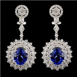 18K Gold 7.50ct Tanzanite & 4.58ct Diam Earrings