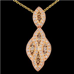 14K Gold 1.28ctw Fancy Diamond Pendant