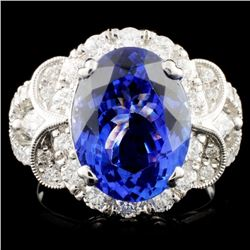 18K Gold 6.17ct Tanzanite & 1.32ctw Diamond Ring