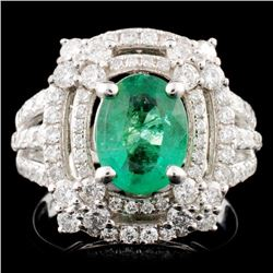 14K Gold 1.26ct Emerald & 1.28ctw Diamond Ring