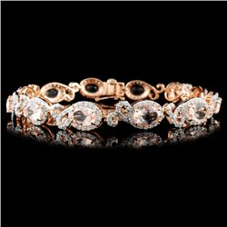 14K Gold 8.33ctw Morganite & 2.10ctw Diamond Brace
