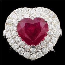 18K Gold 4.22ct Ruby & 1.81ctw Diamond Ring