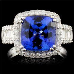 18K Gold 4.05ct Tanzanite & 1.05ct Diamond Ring