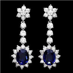 `14k Gold 3ct Sapphire 3.25ct Diamond Earrings