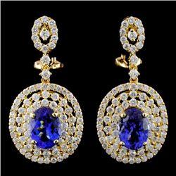 18K Gold 4.14ctw Tanzanite & 2.76ctw Diamond Earri
