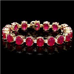 `14k Gold 45.80ct Ruby 1.20ct Diamond Bracelet