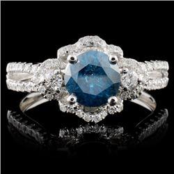 18K White Gold 1.15ctw Fancy Color Diamond Ring