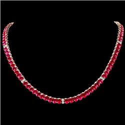 `14k Gold 52.70ct Ruby 1.30ct Diamond Necklace