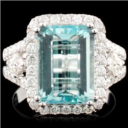 18K Gold 4.25ct Aquamarine & 0.88ctw Diamond Ring