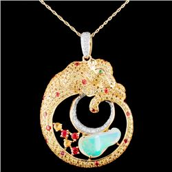 18K Gold 2.30ct Opal & 0.38ctw Diamond Pendant