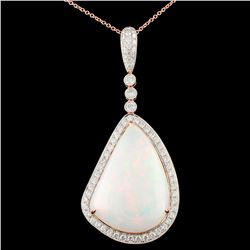 18K Gold 29.18ct Opal & 1.83ctw Diamond Pendant