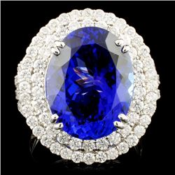 18K Gold 11.05 Tanzanite & 1.77ctw Diamond Ring