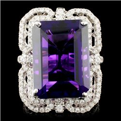 18K Gold 15.40ct Amethyst & 1.10ctw Diamond Ring