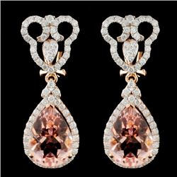 14K Gold 7.25ct Morganite & 1.30ct Diamond Earring