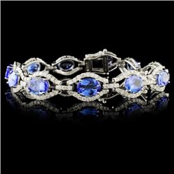 14K White Gold 15.11ct Tanzanite & 3.53ctw Diamond