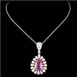18K Gold 3.02ct Sapphire & 1.41ctw Diamond Pendant